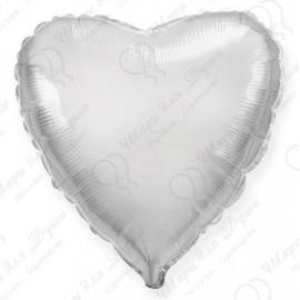 Фольгированное сердце, серебро, 46 см.