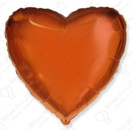 Фольгированное сердце оранжевое, 46 см.