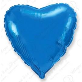 Фольгированное сердце синее, 46 см.