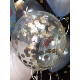 Воздушный шар с конфетти круглые, серебро, 30 см.