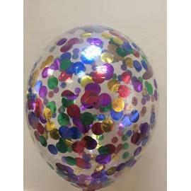 Воздушный шар с конфетти - круглые ассорти, 30 см.