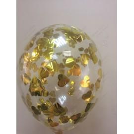 Воздушный шар 30 см с конфетти - сердца золото, 30 см.