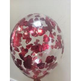 Воздушный шар 30 см с конфетти - сердца красные, 30 см.