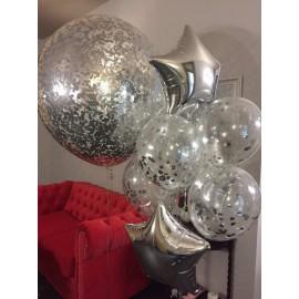Большой шар прозрачный с конфетти, серебро, 70 см.