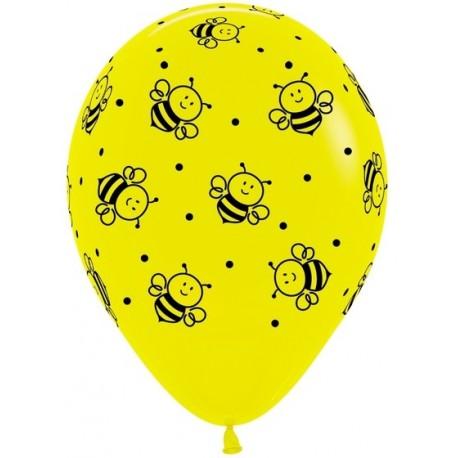 Воздушный шар - Пчелки, желтый, пастель, 30 см.