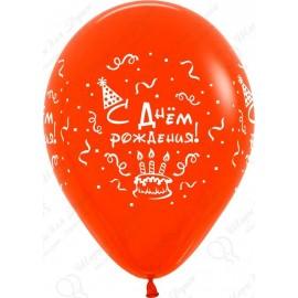 Воздушный шар 30 см С Днем рождения торт, ассорти, пастель.