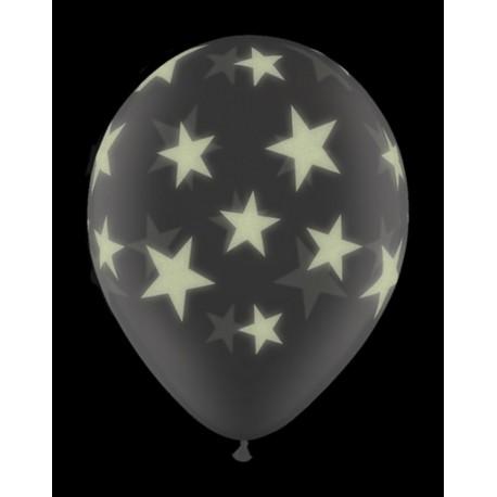 Воздушный шар - Звезды светящиеся, шелк, 30 см.