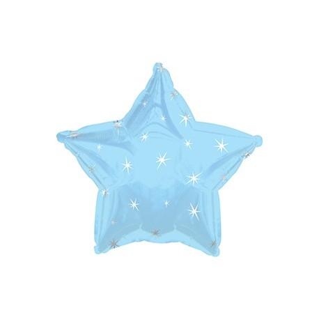 Фольгированный шар - Звезда голубая, искры. 46 см.