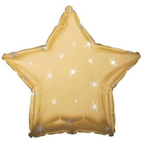 Фольгированный шар - Звезда золотая, искры. 46 см.