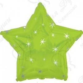 Фольгированный шар 46 см  Звезда лайм, искры.