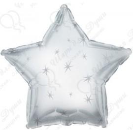 Фольгированный шар 46 см Звезда платиновая, искры.