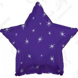 Фольгированный шар 46 см Звезда фиолетовая, искры.