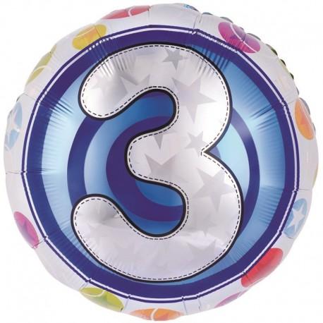 Фольгированный шар - цифра 3. 46 см.