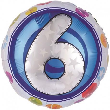 Фольгированный шар - цифра 6. 46 см.