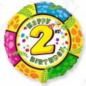 Фольгированный шар С Днем Рождения - цифра 2.