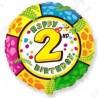 Фольгированный шар С Днем Рождения - цифра 2. 46 см.