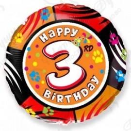 Фольгированный шар С Днем Рождения - цифра 3.