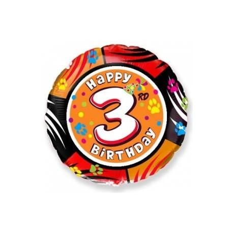 Фольгированный шар С Днем Рождения - цифра 3. 46 см.
