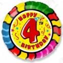 Фольгированный шар С Днем Рождения - цифра 4.