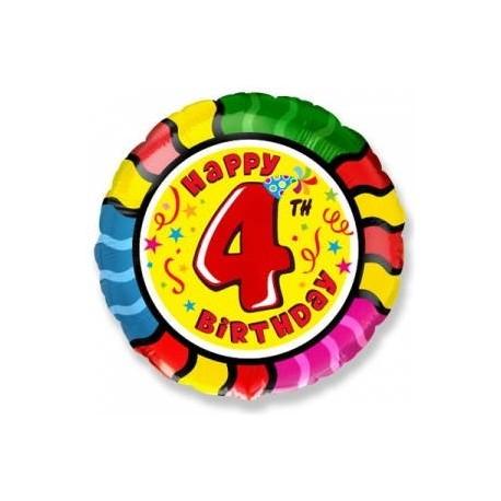Фольгированный шар С Днем Рождения - цифра 4. 46 см.
