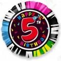 Фольгированный шар С Днем Рождения - цифра 5.