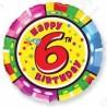 Фольгированный шар С Днем Рождения - цифра 6. 46 см.