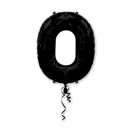 Фольгированная цифра 0, черная. 86 см.