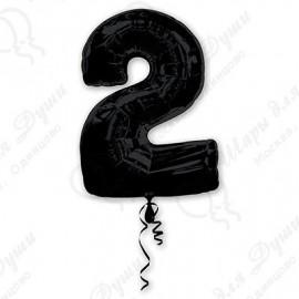 Фольгированная цифра 2, черная. 86 см.