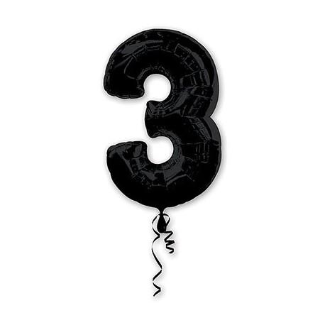 Фольгированная цифра 3, черная. 86 см.