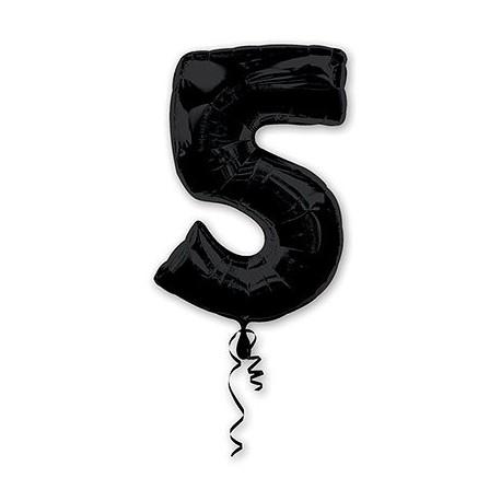 Фольгированная цифра 5, черная. 86 см.