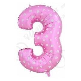 Фольгированная цифра 3, розовая.
