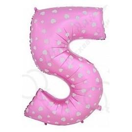 Фольгированная цифра 5, розовая.