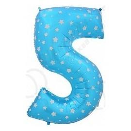 Фольгированная цифра 5, синяя.