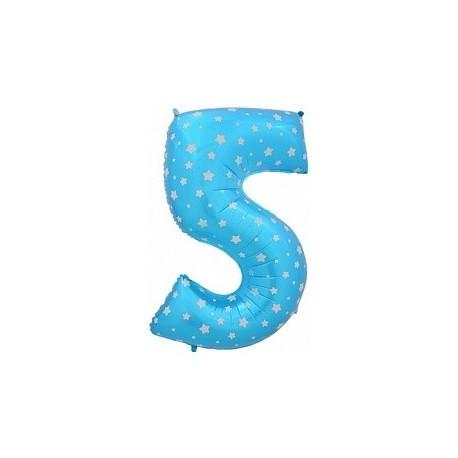 Фольгированная цифра 5, синяя. 102 см.