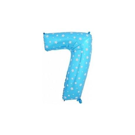 Фольгированная цифра 7, синяя. 102 см.