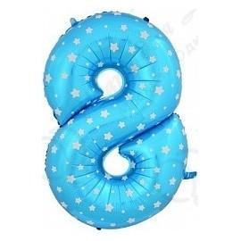 Фольгированная цифра 8, синяя.