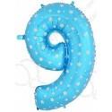 Фольгированная цифра 9, синяя.