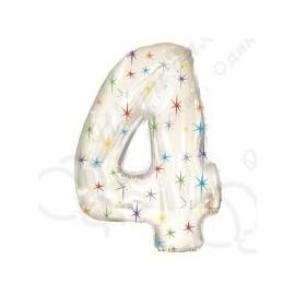 Фольгированная цифра 4, белая.
