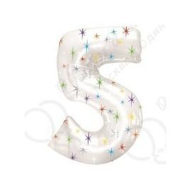 Фольгированная цифра 5, белая.