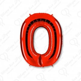 Фольгированная цифра 0, красная. 102 см.