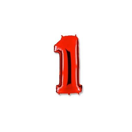 Фольгированная цифра 1, красная. 102 см.
