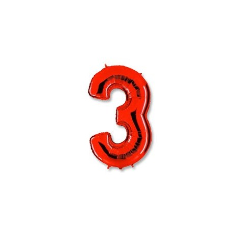 Фольгированная цифра 3, красная. 102 см.