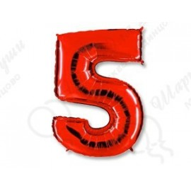 Фольгированная цифра 5, красная.
