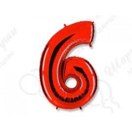 Фольгированная цифра 6, красная.