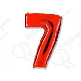 Фольгированная цифра 7, красная.
