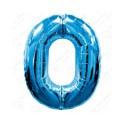 Фольгированная цифра 0, ярко-синяя.