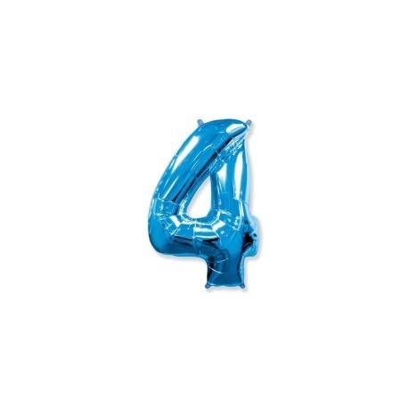 Фольгированная цифра 4, ярко-синяя. 102 см.