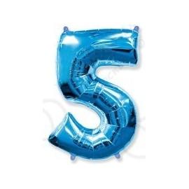 Фольгированная цифра 5, ярко-синяя.