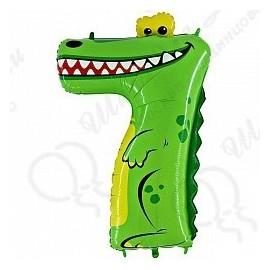 Фольгированная цифра 7, крокодил.