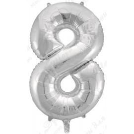 Фольгированная цифра 8, серебро.